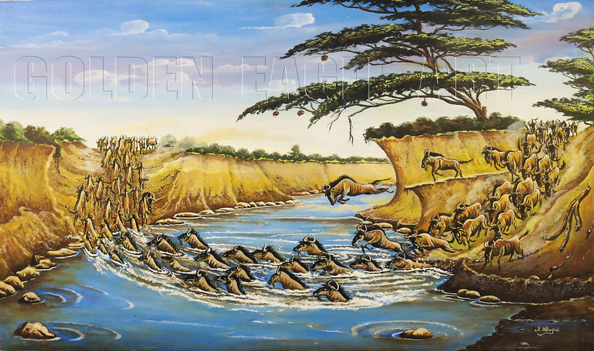 Wild beast migration oil painting on canvas