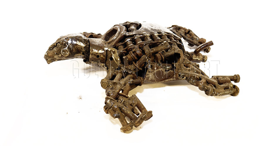 Recycled metal nut frog
