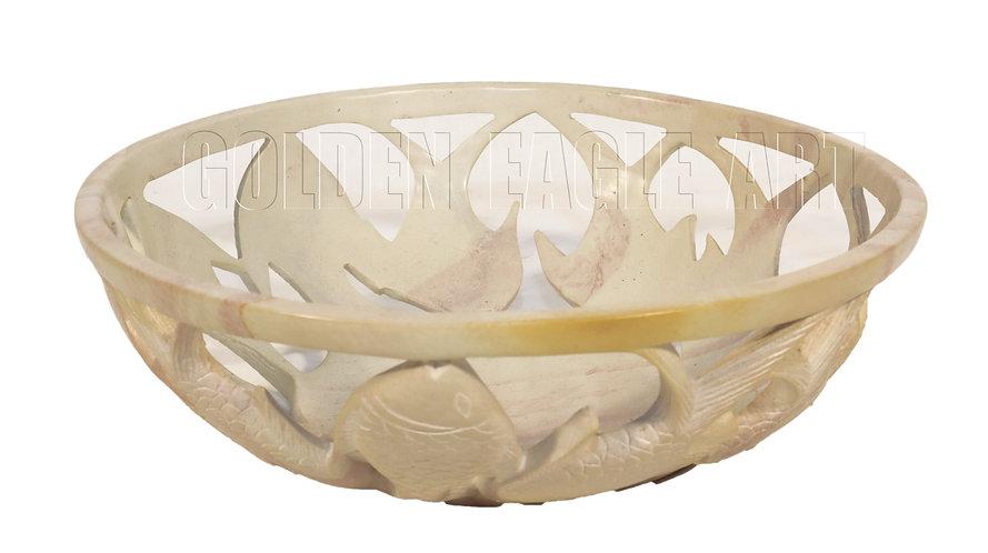 Natural soapstone carved fruit bowl