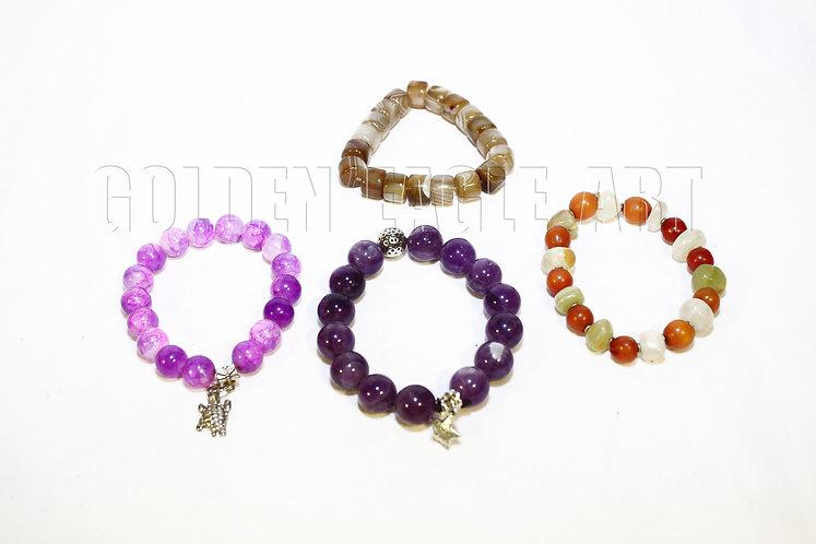 Assorted stone bracelets