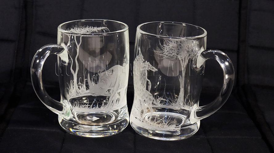 Engraved glass beer mugs