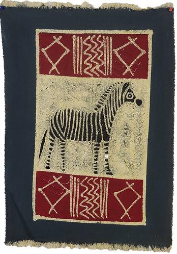 Zimbabwe Batik table cloth with Zebra painting