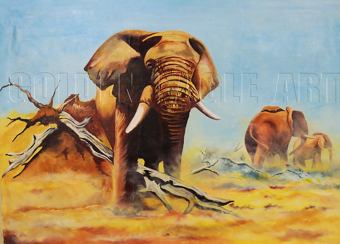 Elephant family oil painting on canvas