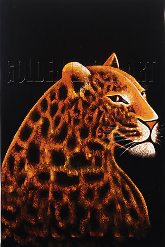 Cheetah head oil painting on velvet