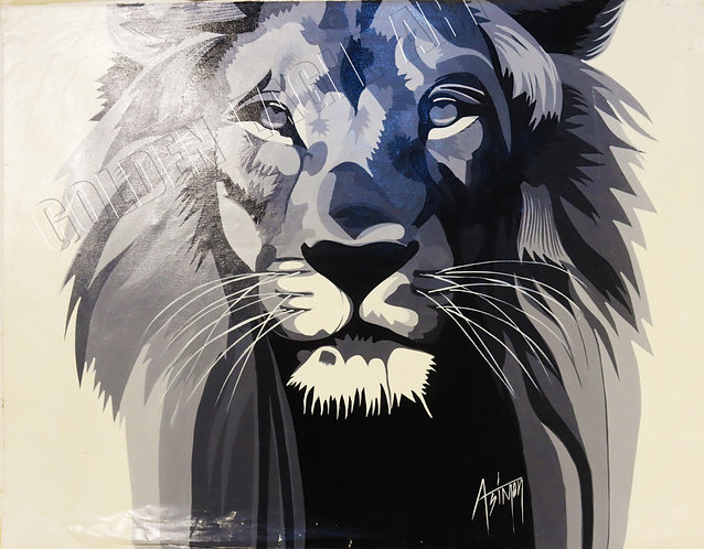 Black and white lion face oil painting on canvas