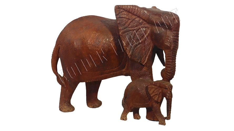 46cm high rosewood textured elephant