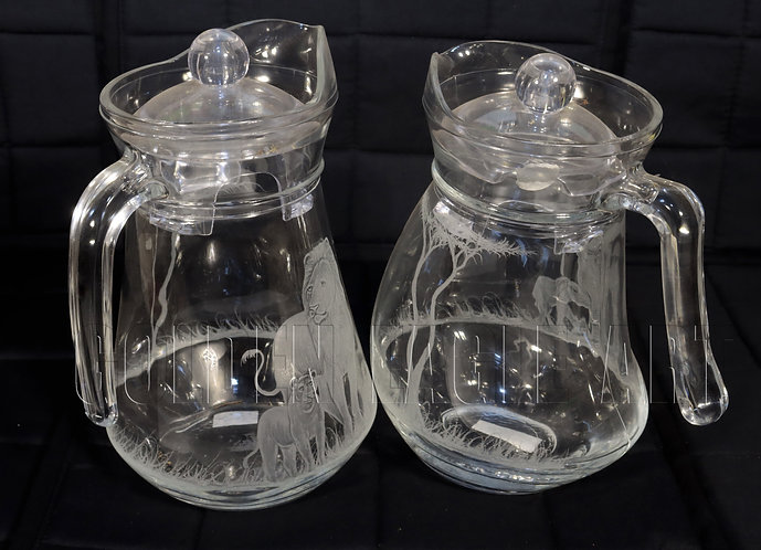 Engraved glass water jugs