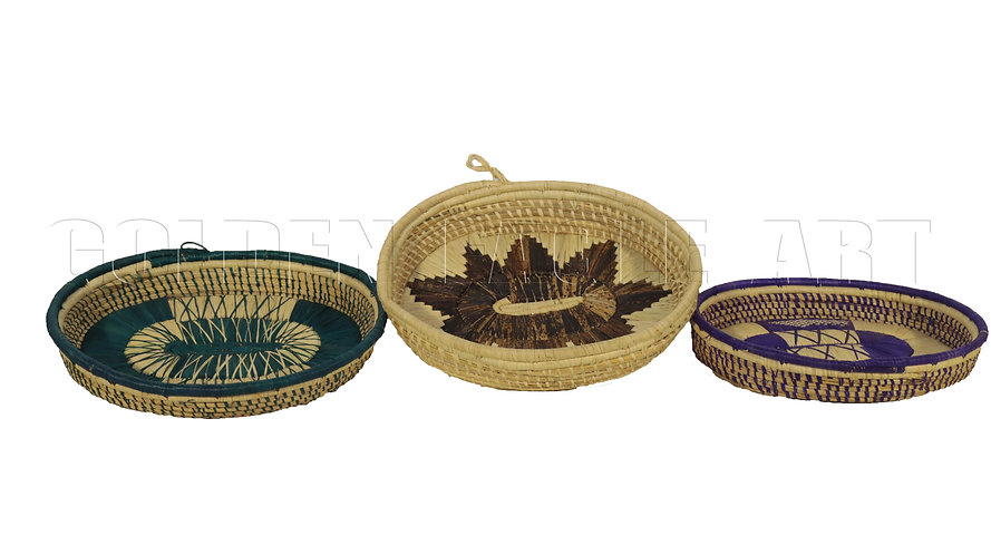 Flat oval raphia fruit baskets
