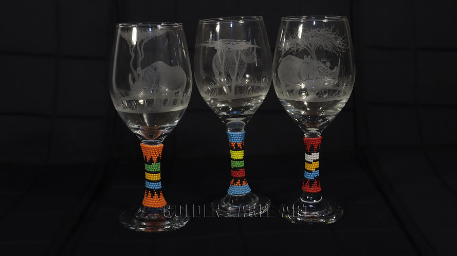 Engraved beaded wine glasses