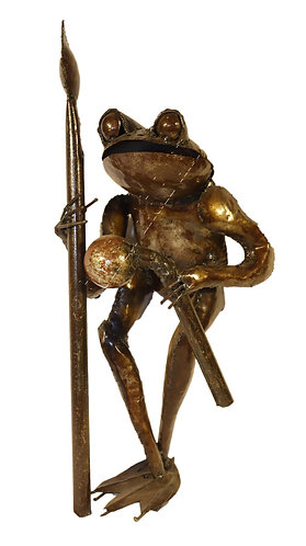 Recycled metal garden warrior frog