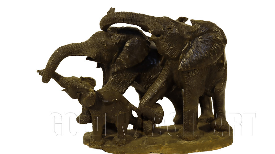 Varadate stone carved elephant family
