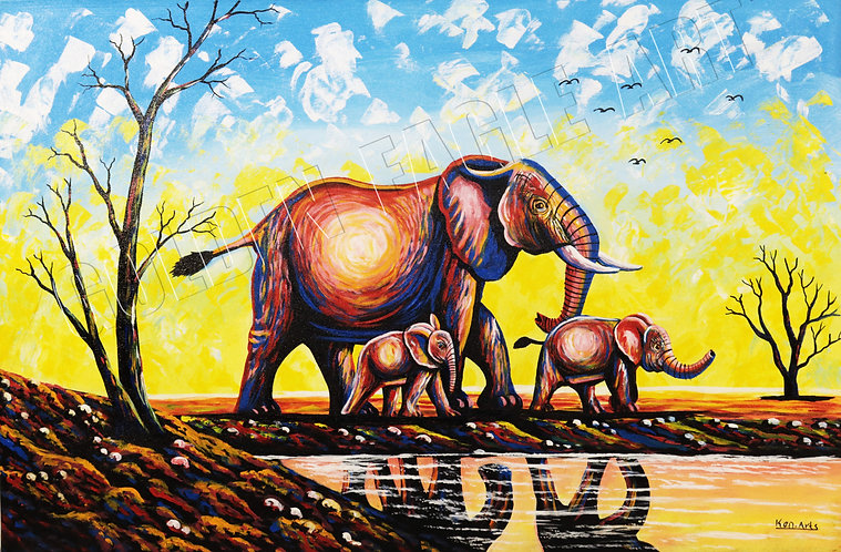 Elephant motherly love oil painting on canvas