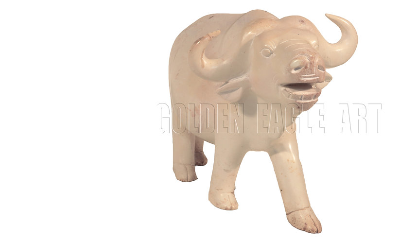 Carved natural soapstone buffalo