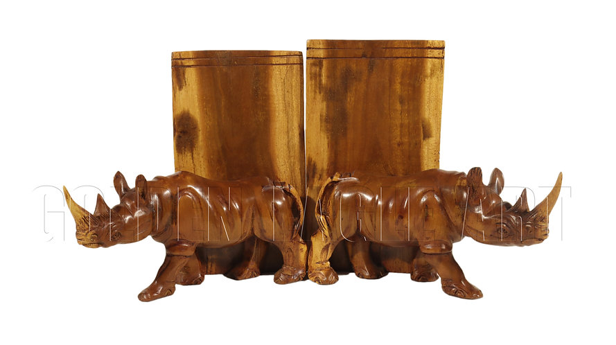 20cm high rosewood rhino bookends