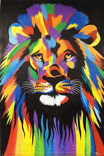 Colored lion face oil painting on canvas