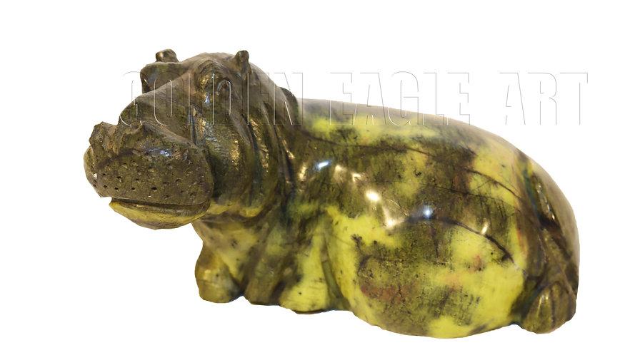 Carved varradite snone sitting hippo