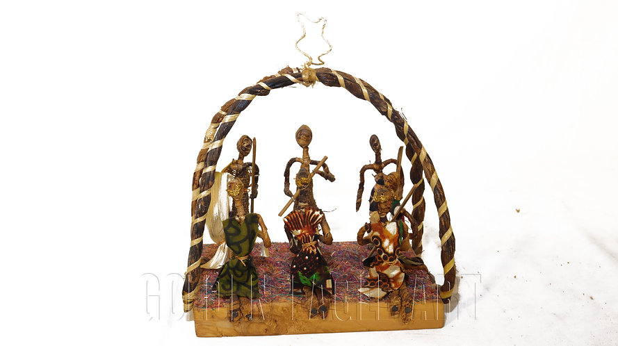 Open banana nativity set