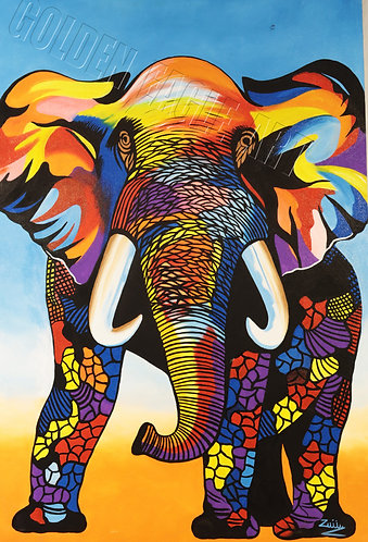 Colored abstract elephant painting on canvas