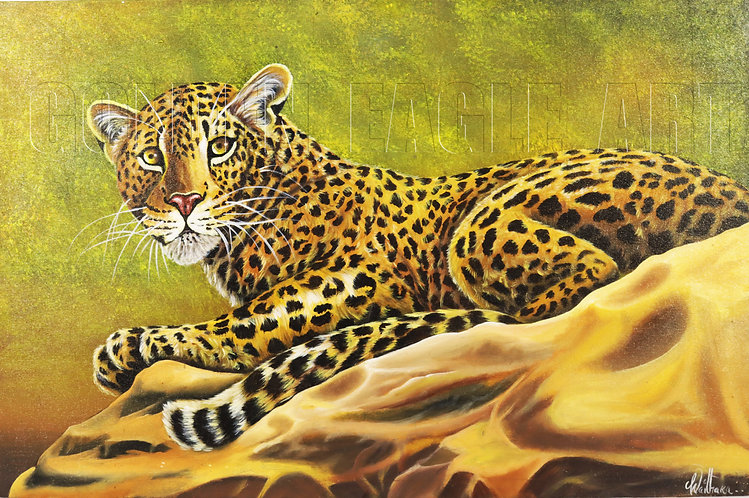 Leopard oil painting on canvas