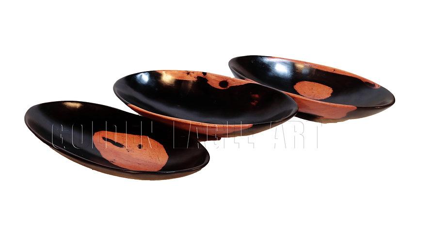Plain oval ebony bowls