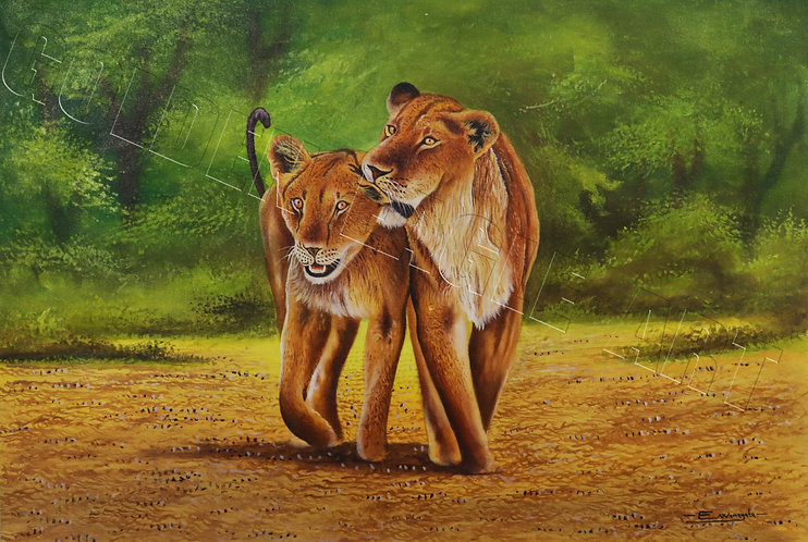 Lioness motherly love oil painting on canvas