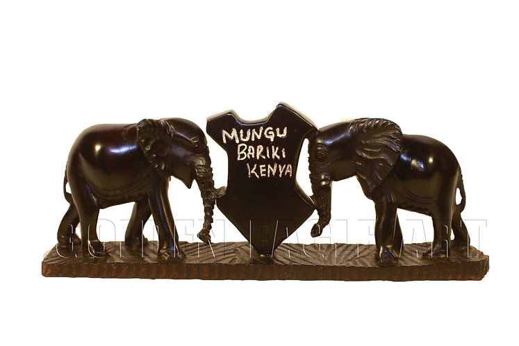 Kenyan ebony kissing elephants