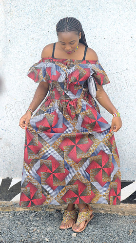 Long kitenge off shoulder dress