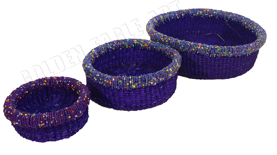 Beaded basket sets of threes