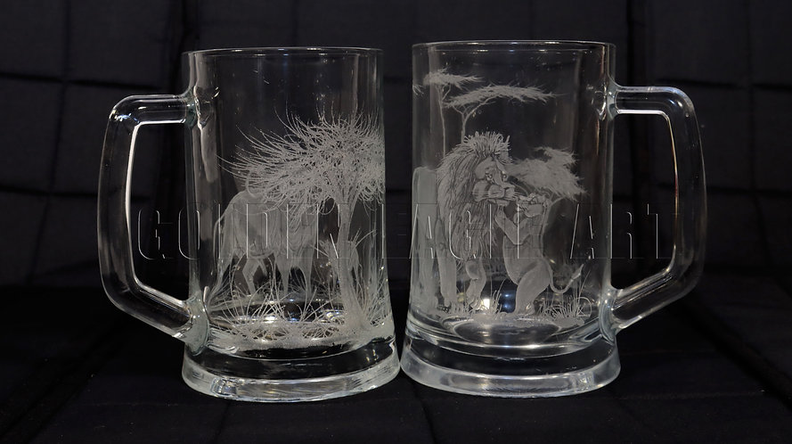 Engraved glass beer mugs