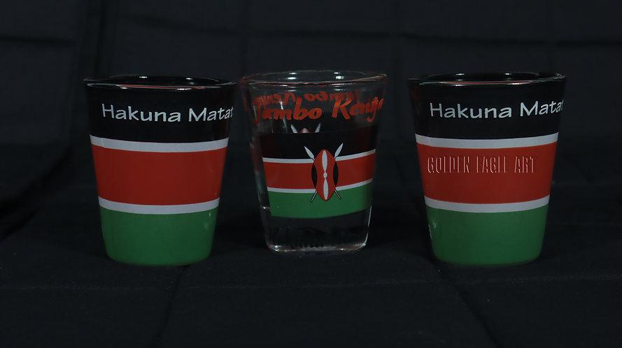 Kenyan flag tot (short) glasses