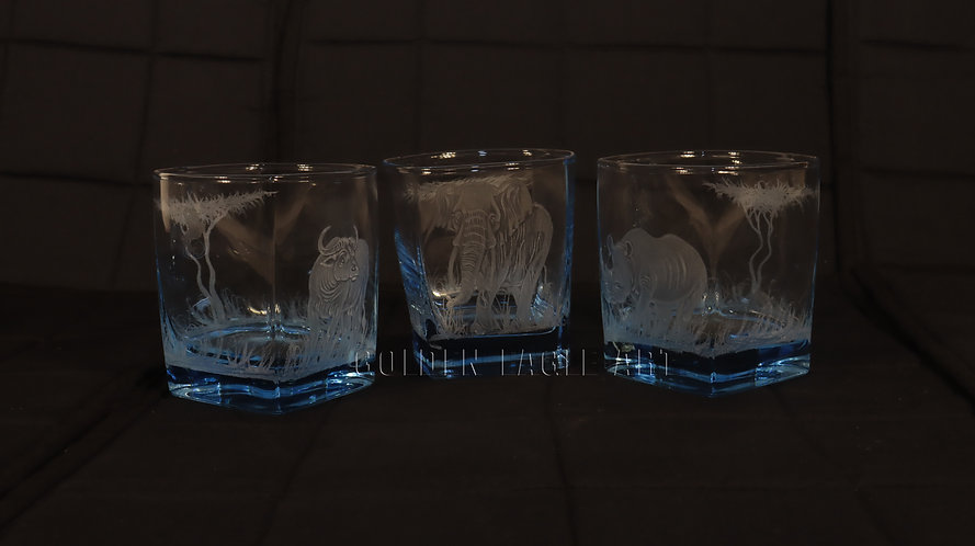 Engraved squire coloured whisky glasses