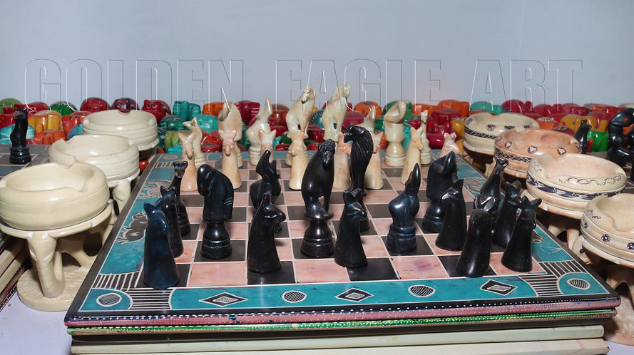 Colored 14 inch sides soapstone animal chess set