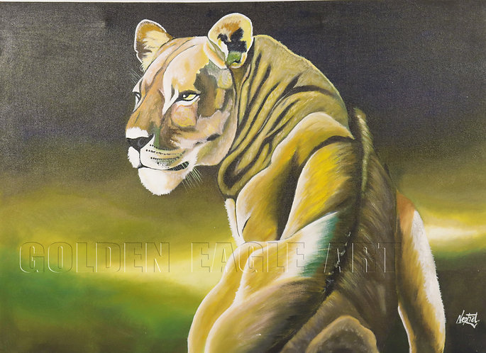 Oil painting on canvas( lioness)