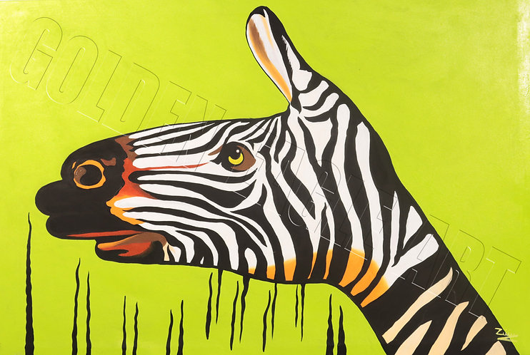 Zebra hand abstract oil painting on canvas