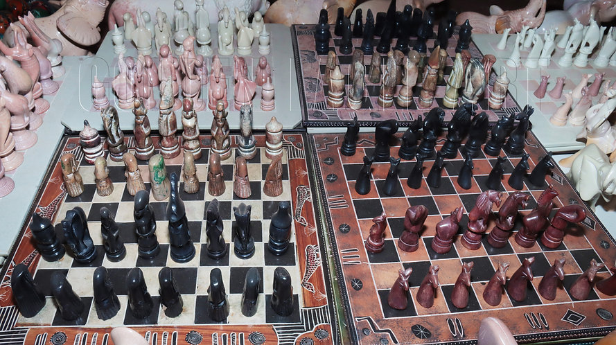 Assorted small chess sets