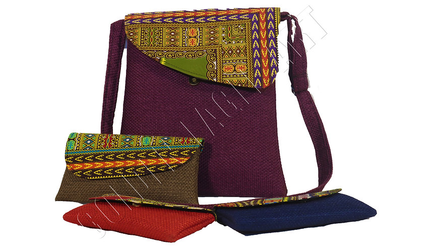Crafted laptop purse set with 3 crunch bags