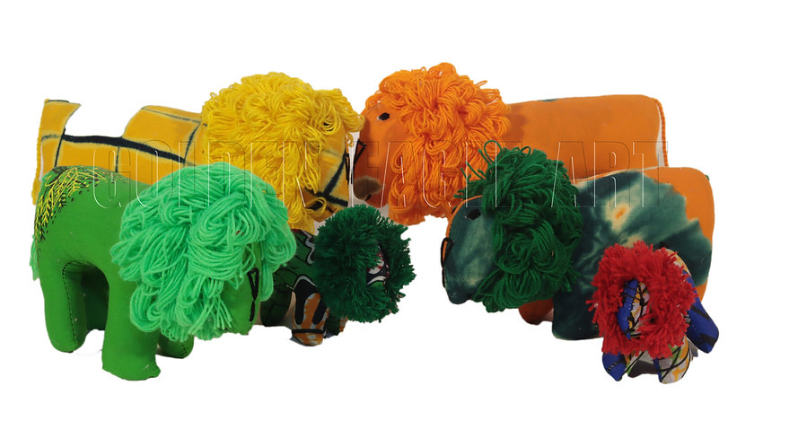 Small fabric lions