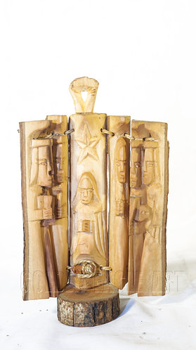 23cm high Olive wood magic nativity set