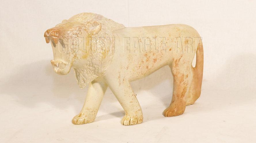 Natural soapstone carved lion
