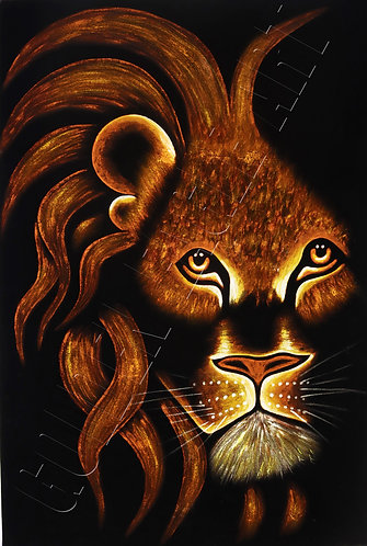 Lion head oil painting on velvet