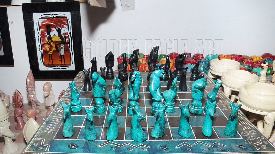 Colored 14 inch  sides soapstone chess set