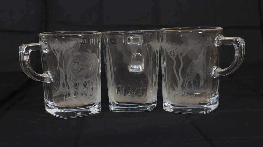 Engraved coffee glasses