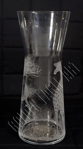 Engraved glass flower verse