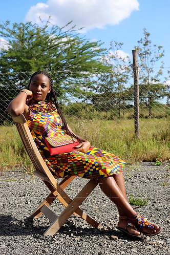 Kitenge dress and Clutch bag