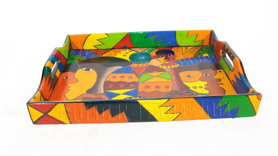 African heritage painted serving tray