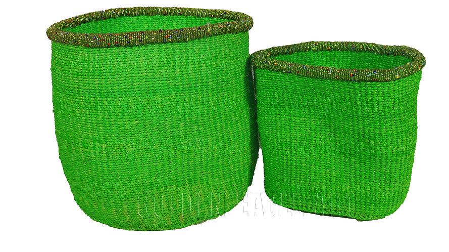 A set of 2 beaded paper bin baskets