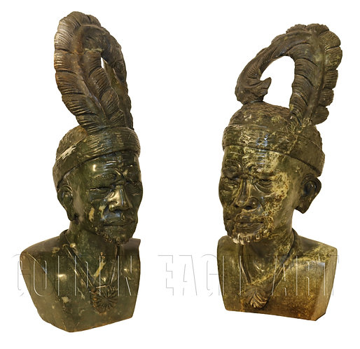 A set of carved varradite stone carved African wisemen busts