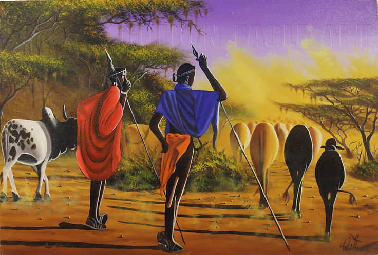 Maasai grazing oil painting on canvas