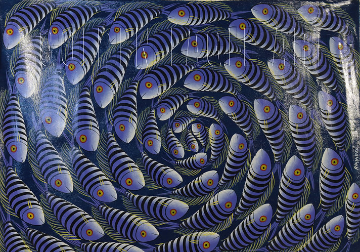 Tingatinga fish oil painting on canvas