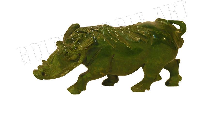 Carved varadite stone warthog